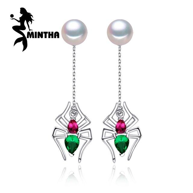 e004f1b889ab MINTHA Perle Émeraude rubis longues boucles d oreilles Perle Bijoux pour  Femmes 925 sterling argent