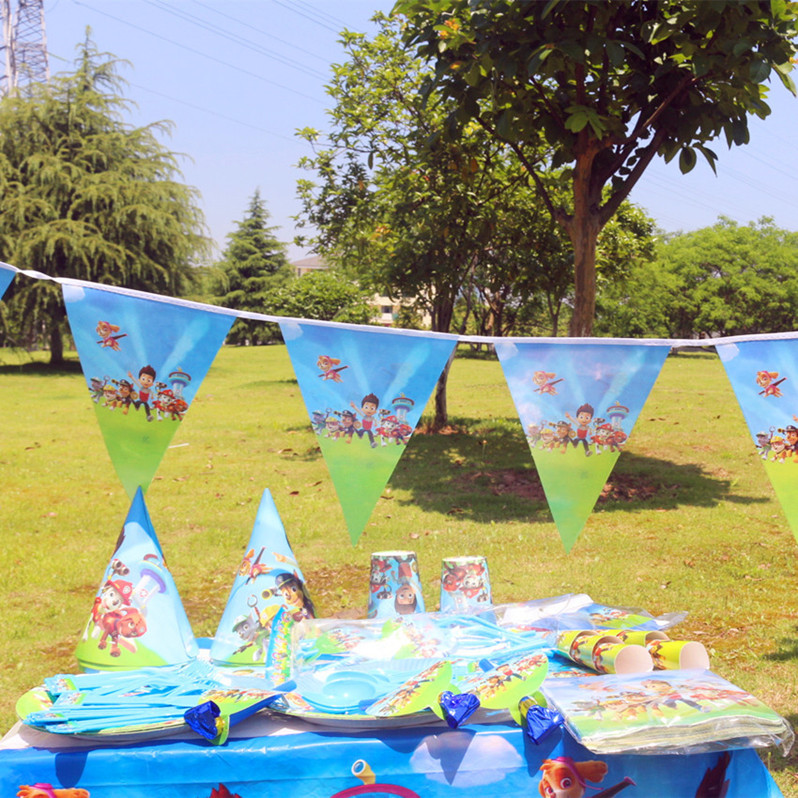122pcs Puppy Canine Dog Disposable Tableware sets TableCloth cups Paper plate Napkin Kids Boy Birthday Party Decoration