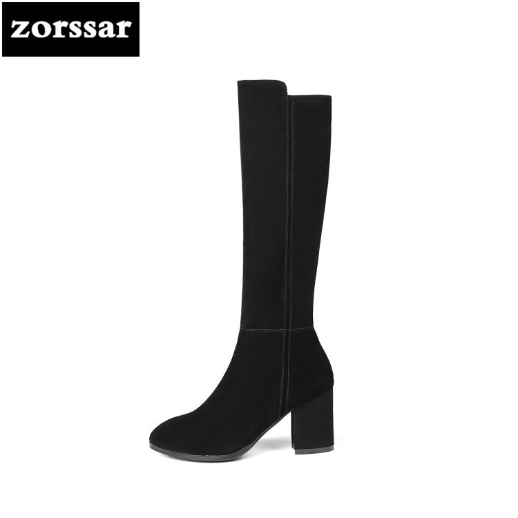 {Zorssar} 2019 New Winter Plush Female Snow boots Fashion Thigh High Boots Suede Leather Women Knee High boots High heels zorssar 2019 new winter fur female snow boots fashion knee high boots suede leather women over the knee boots high heels