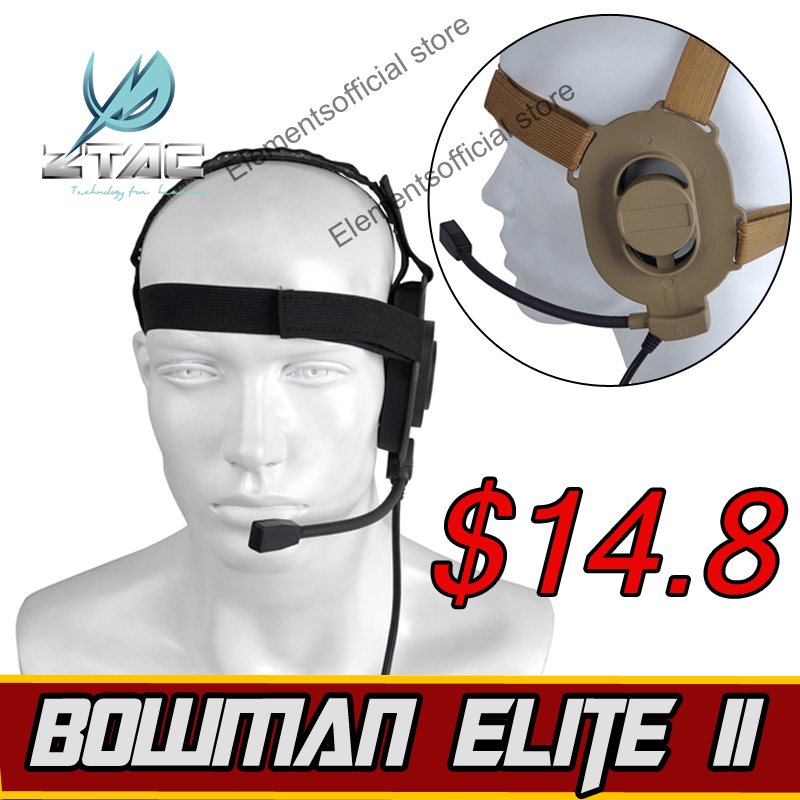 Z-TAC Softair Earphone Z-TAC Military Airsoft Bowman Elite II Kenwood Midland PTT All For Hunting ipsc Arsoft Tactical Headsed