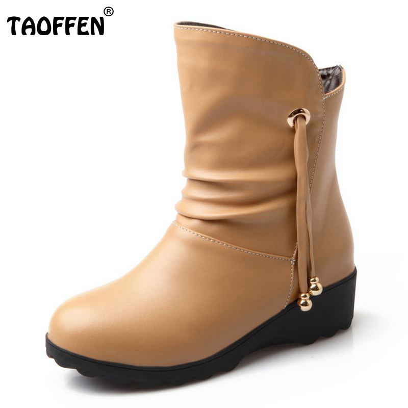 Women Square Heels Half Short Boots Tassel Winter Warm Mid Calf Boot Botas Style Fashion Quality Footwear ShoesSize 34-41 fashion women s mid calf boots with tassel and cross straps design