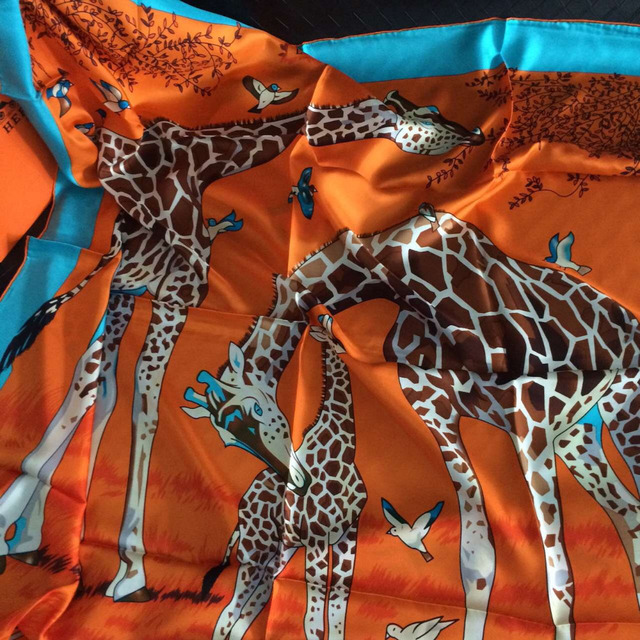 2color High Quality  Giraffe Printed Silk Twill scarf, Mulberry Silk Scarves 140cm*140cm