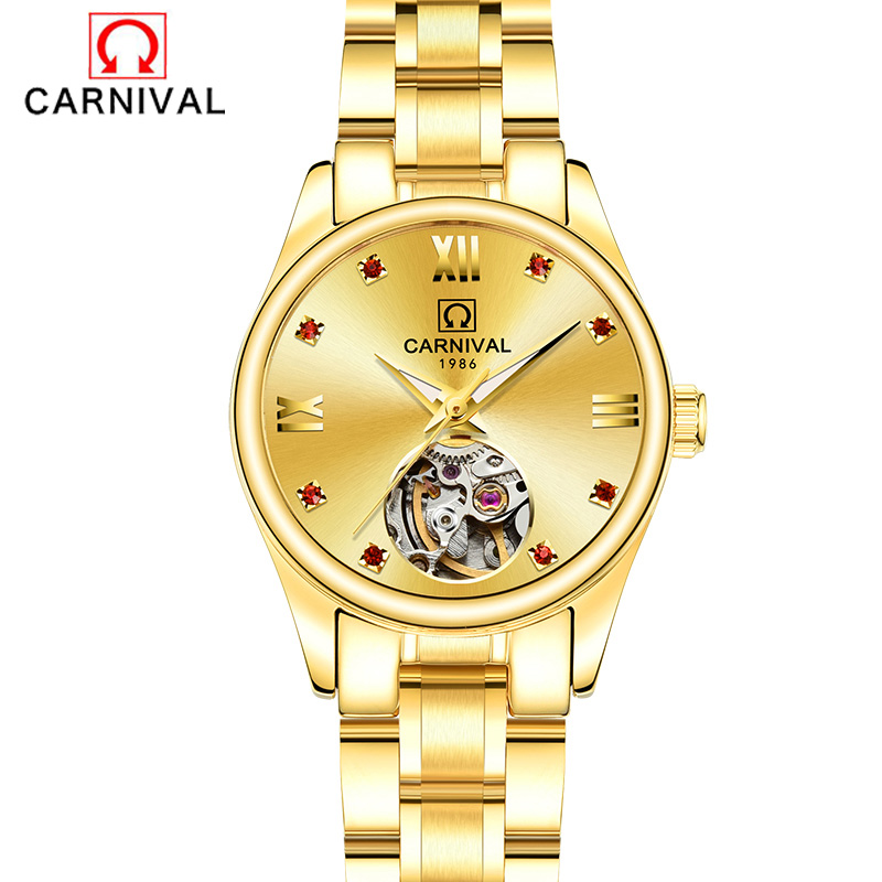 Luxury Brand Carnival ladies Automatic mechanical wrist watches for women clock waterproof Fashion Dress Casual business Watch