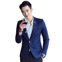 2018 Male Blazers and Jackets Formal Dress Suits Men's Casual Fashion Slim Fit Large Size Solid Color Single Button Style Suits