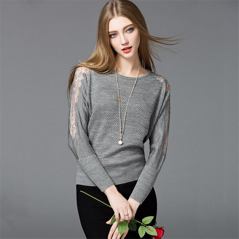 Women Sweater Blouse 2017 Spring Lace Sleeve Pullover WOMEN BLOUSE Casual Winter Warm Woman Blouse Shirt Top Femininas Blusas thumbnail