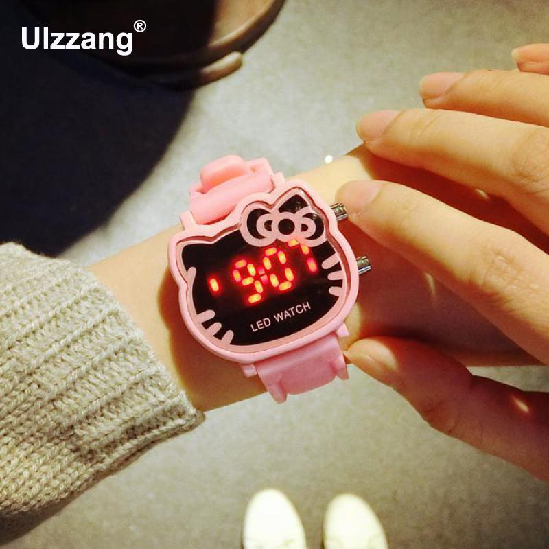 Fashion Digital Womens Bracelet LED Watches Sport Watch Clock Kitty Cat Dial Kids Sweet Electronic Wristwatch relogio masculino weide popular brand new fashion digital led watch men waterproof sport watches man white dial stainless steel relogio masculino