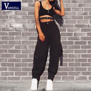 Image 2 - Vangull שחור גבוהה מותניים מכנסיים מטען נשים כיסי טלאים Loose Streetwear מכנסי עיפרון 2019 אופנה היפ הופ נשים של מכנסיים