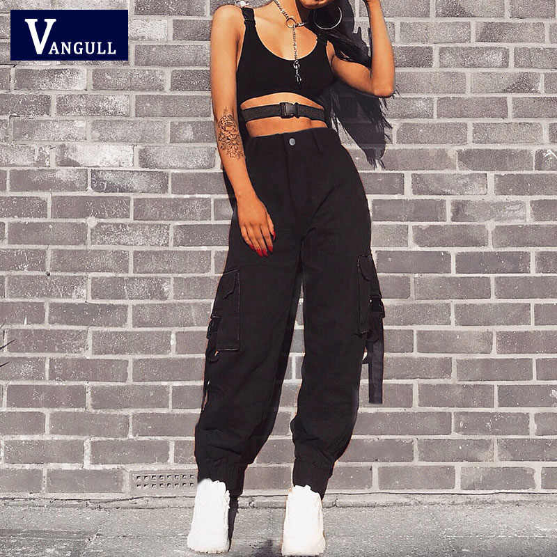 Vangull siyah yüksek bel kargo pantolon kadın cepler Patchwork gevşek Streetwear kalem pantolon 2019 moda Hip Hop kadın pantolon