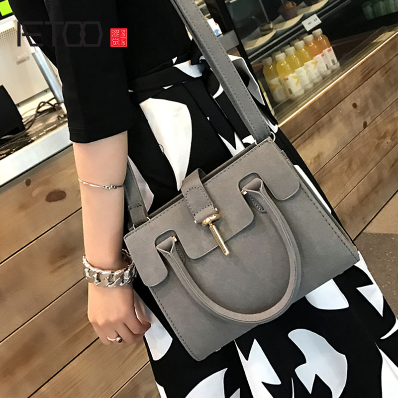 AETOO Female bag 2017 summer new Korean version of the frosted ladies shoulder bag retro oblique cross bag small handbag retro small square korean version of the printing bag graffiti shape shoulder mini oblique cross female package