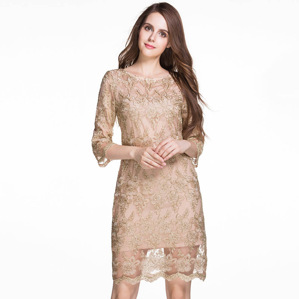 Bohoartist Elegant High Quality Embroidery Floral Dresses Fashion Summer Lace Half Sleeves Dress Cloth Plus Size Dresses