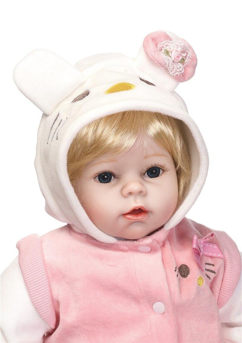 22 bebe meisje reborn poppen zachte siliconen reborn baby poppen voor kinderen gift blond haar pruik met kat pluche pop magnetische fopspeen b - 2
