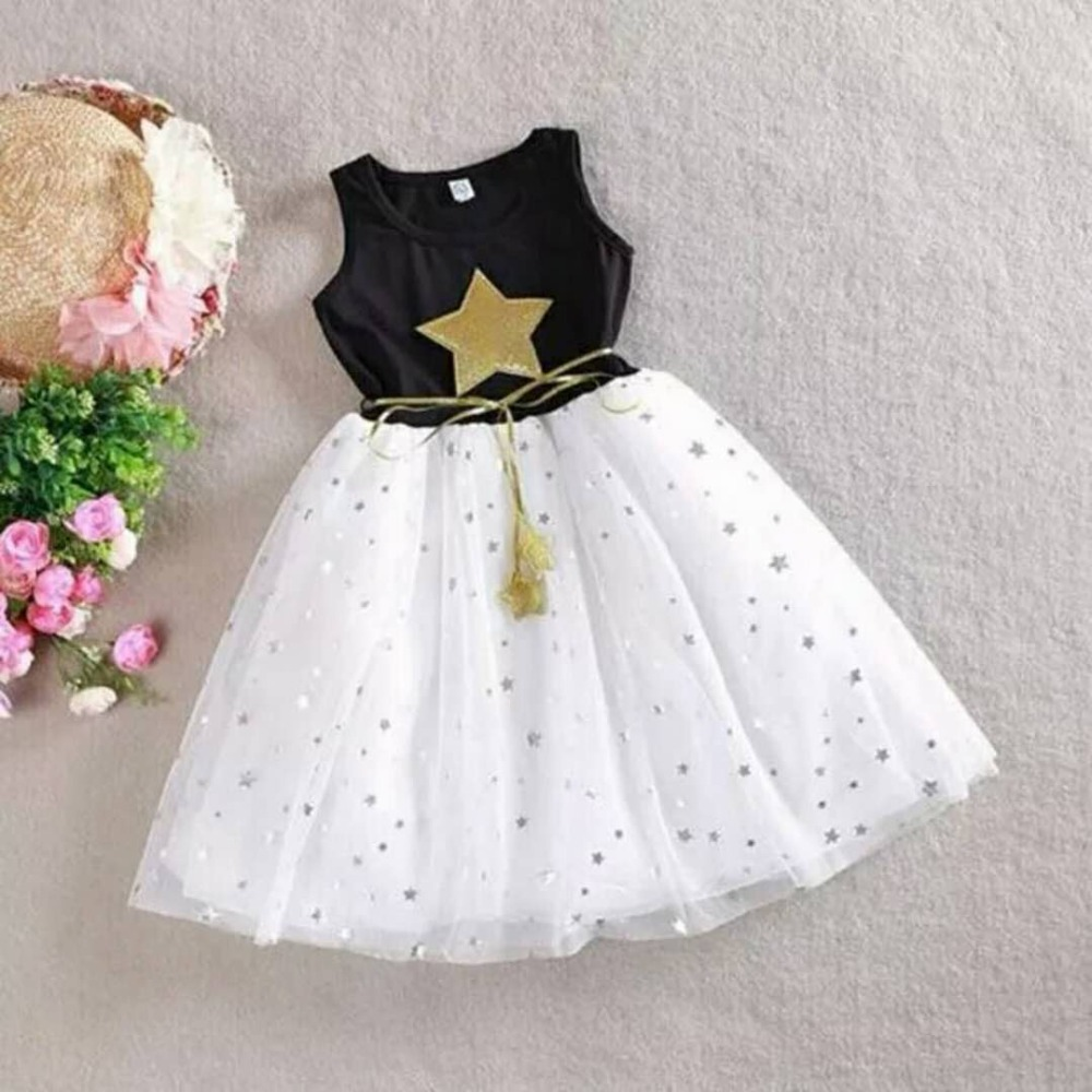 9505c51e21923 US $7.81 15% OFF|White Black Summer Kids Girl Dresses Gold Star Baby  Clothes Casual Cute Lovely Cotton Voile Party Children Tutu Dress for  Girls-in ...