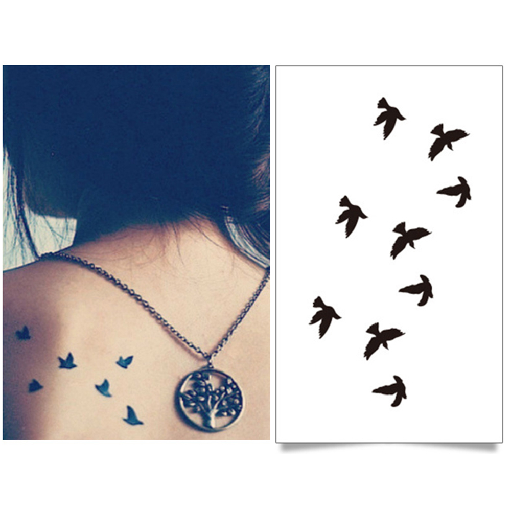 Waterproof Temporary Tattoo Sticker Fly Birds Tatto Stickers Flash Tatoo Fake Tattoos For Women Girl