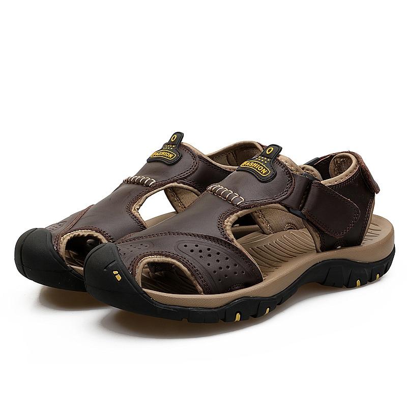 Valstone pria Sandal kulit asli Mewah musim panas sandal kulit alami - Sepatu Pria - Foto 2