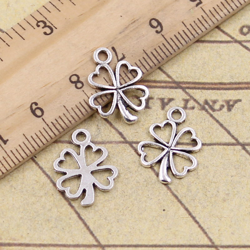 30pcs/lot Charms Lucky Irish Four Leaf Clover 17x14mm Tibetan Pendants Crafts Making Findings Handmade Antique Jewelry(China)