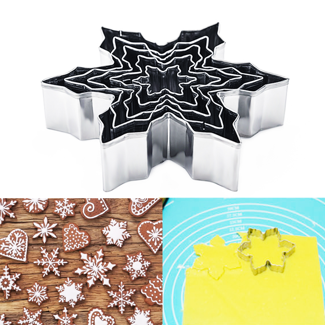 5pcs/set Metal Snowflake Shape Christmas Cookie Cutter Kitchen Fondant Cake Decorating Tools Chocolate Soap Mold Cake Stencils