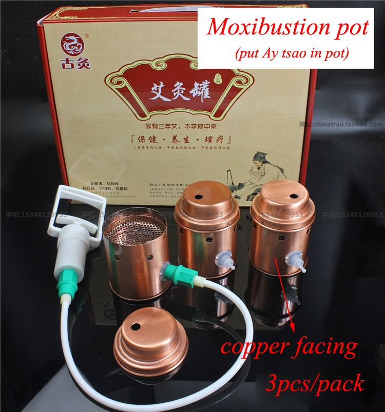 Household moxibustion pot vacuum copper facing cupping 3pcs/set Ay Tsao/asiatic wormwood acupuncture moxibustion pot 100g 8 1 artemisia pure moxa acupuncture ay tsao asiatic moxawool expell cold pain health care wholesale