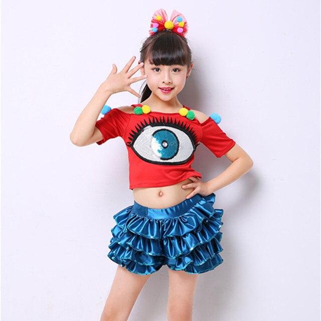 modern Hip-hop jazz dance costumes for girls clothes contemporary dance  wear kids cheerleader costume dance dress for girls 08bcb88af3b