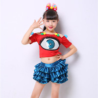 modern Hip hop jazz dance costumes for girls clothes contemporary dance wear kids cheerleader costume dance dress for girls