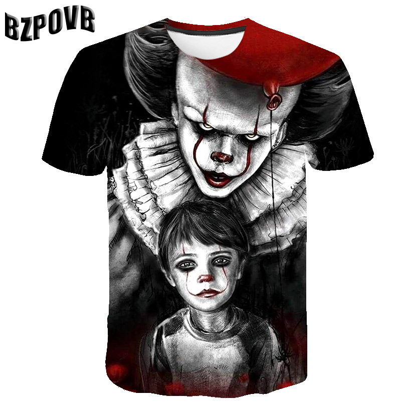 2019 Summer Newest Clown 3D Print Cool Funny T-Shirt Fashion Men Short Sleeve Tops T Shirt Men Leisure Breathable Tops Tee