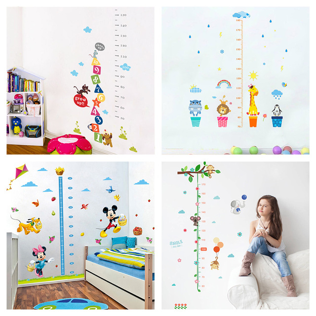 Cartoon Animals Growth Chart Wall Stickers For Kindergarten Home Decoration  Monkey Giraffe Mural Art Kids Height Measure Decals-in Wall Stickers from  Home ... e7c90dcf3b8d