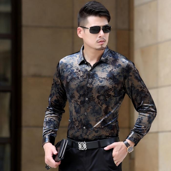 e9431658c0533 2019 caliente primavera y otoño nueva plus tamaño ropa camisa de corte Slim  de moda casual de terciopelo de oro camisa de manga larga trajes en Camisas  de ...