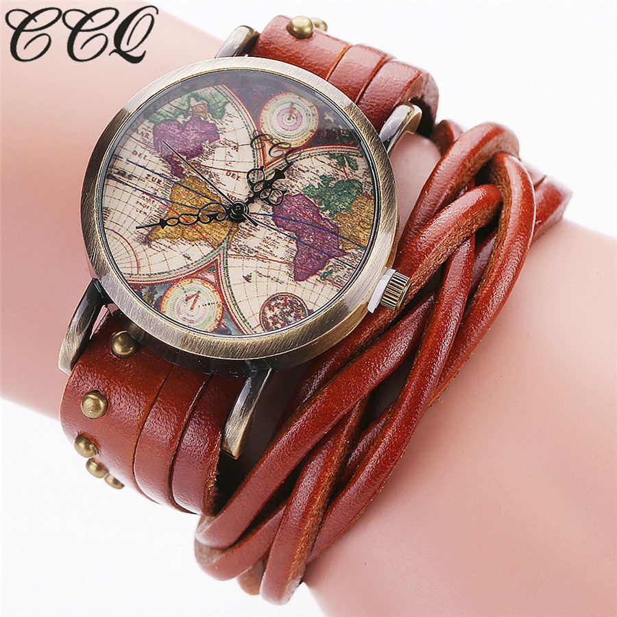 CCQ Vintage Retro Rivet Braided Genuine Leather World Map Watch Fashion Casual Women Quartz Wrist Watch Relogio Feminino C89