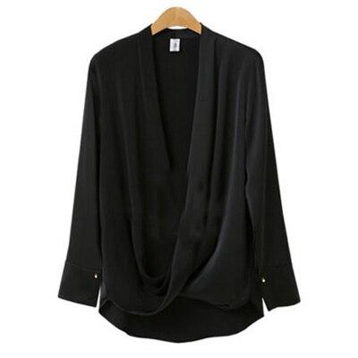 Весна, новинка размера плюс 5XL, женская блузка, Европейский стиль, v-образный вырез, женские рубашки, уникальный дизайн, длинный рукав, топы, уличная одежда - Цвет: Black
