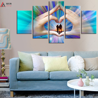 5 Panel Couple Love Modern Paintings Wall Murals Abstract Art Oil Painting Canvas Print Cuadros Decoracion