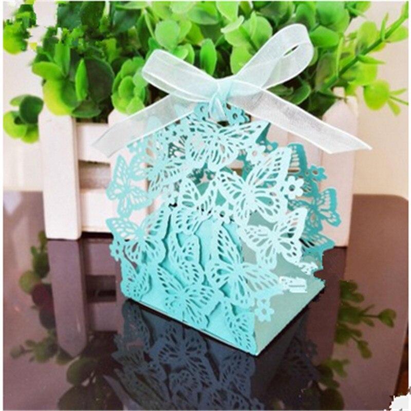 200 pcs/Lot Faveurs De Mariage De Sucrerie Boîte Laser Cut Creux De Bonbons Chocolats Sac Bébé Douche D'anniversaire Invitations Cadeaux Sac Papillon