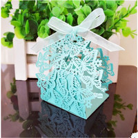200pcs/Lot Wedding Favors Candy Box Laser Cut Hollow Candy Chocolates Bag Baby Shower Birthday Invitations Gifts Bag Butterfly