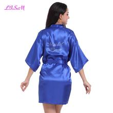 Купить с кэшбэком LISM Fashion Silk Bridesmaid Bride Robe Sleepwear Nightgown Dress Woman Bathrobe Pajamas Sexy Women Short Satin Wedding Kim