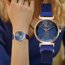 Fashion Blue Watch Women Magnet Quartz Wristwatches For Women Top Brand Luxury Crystal Ladies Dress Clock relogio feminino 2019 mcykcy watch top brand luxury women fashion casual quartz watch for women s leather strap dress wristwatches relogio feminino