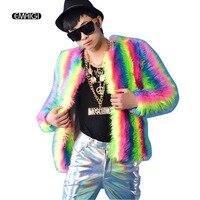Men Women Multicolor Fake Fur Coat Jacket Nightclub Singer DJ Clothing Singer Stage Costumes Men Short