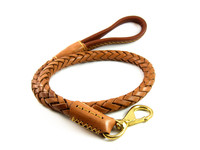43Inch Large Dog Soft Braided Pet Dog Real Genuine Leather Leash Coffe With Golden Hook