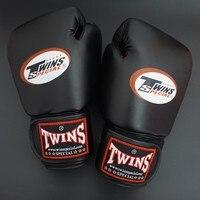 8 10 12 14 oz כפפות תאומים kick כפפות אגרוף עור PU שחור אימון שק חול Sanda אגרוף Muay כפפות Guantes גברים נשים תאילנדי