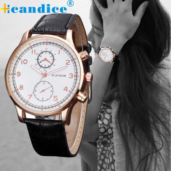 Relojes de pulsera de cuarzo para mujer con esfera de cuero con diseño Retro para mujer
