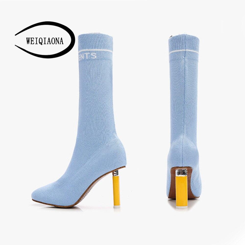 Weiqiaona rouge Du Chaussures 33 Taille Marque Noir Neige Femmes Orteil Talon Mi Design Pointu Grand 43 Parti ivoire Ciel Haut 2018 pu mollet Bottes gqTrw8xg