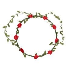 Леди Boho Цветочный Фестиваль цветов Свадебный Венок Лоб Глава Волос Группа красный