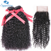 Sapphire Brazilian 3 Bundles With Closure Kinky Curly Remy Hair Bundles With Closure 4 4 Lace
