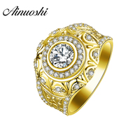 AINUOSHI Luxury 10K Solid Yellow Gold Round Ring Vintage Wide Wedding Male Band SONA Diamond Halo Ring Men Wedding Ring Jewelry