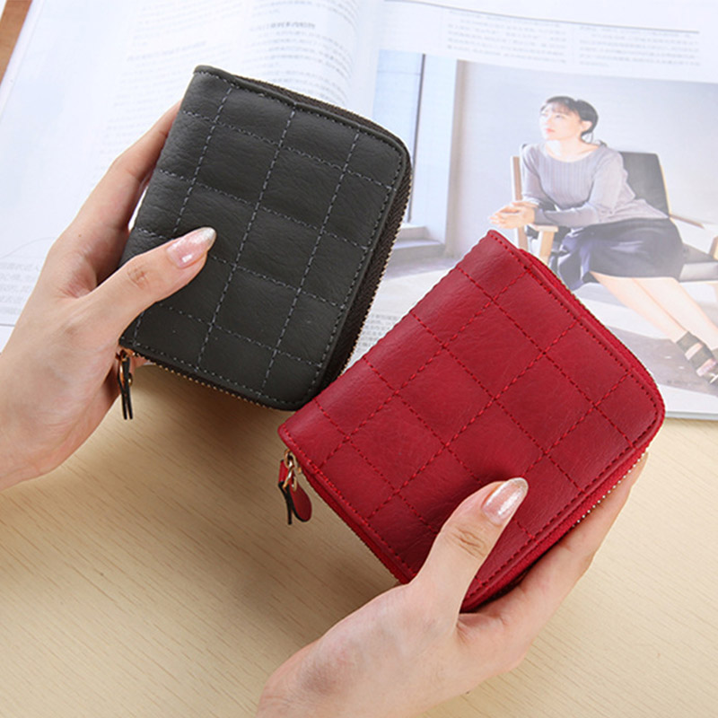 Women Wallets And Purses PU Leather Short Wallet Female Card Holder Money Bag Plaid Purses Zipper Coin Pocket Small Wallet