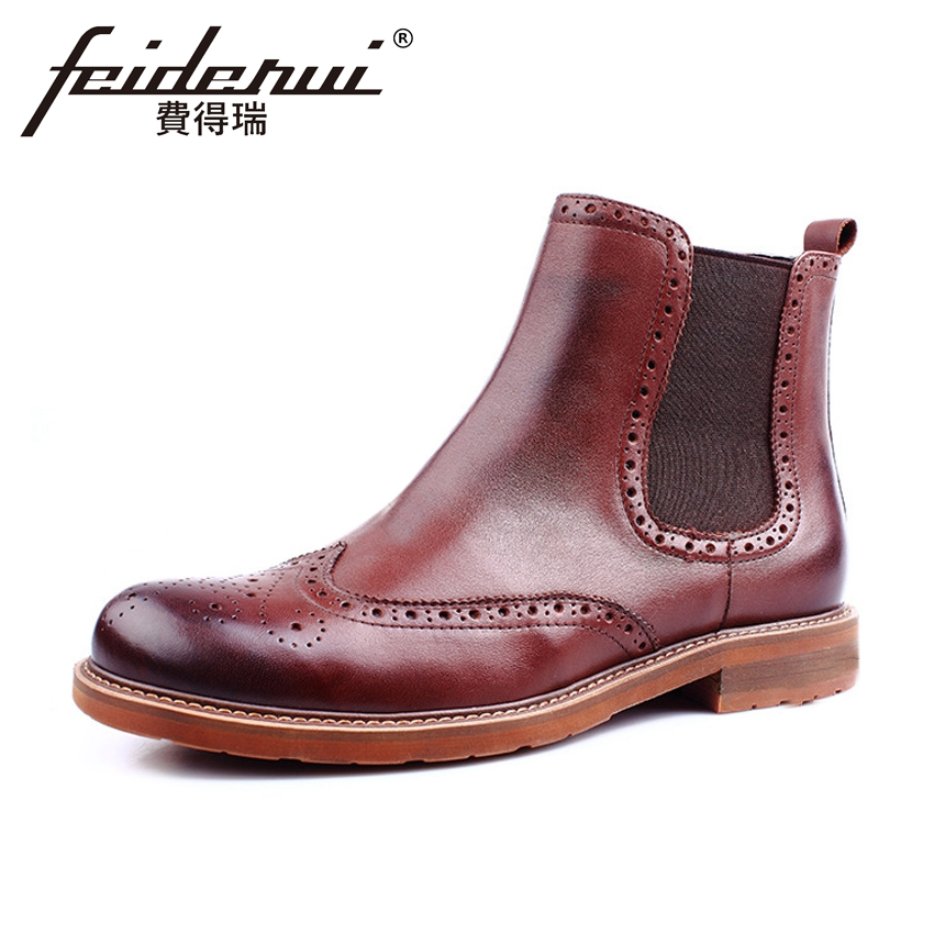 Fashion British Designer Genuine Leather Men's Chelsea Ankle Boots Vintage Round Toe Cowboy Martin Brogue Shoes For Man ASD65 front lace up casual ankle boots autumn vintage brown new booties flat genuine leather suede shoes round toe fall female fashion