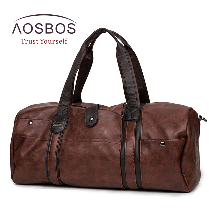 Aosbos PU Leather Gym Bag Large capacity Sports Bags for Women Men Fitness Training Bag Outdoor Travel Duffel Storage Handbag temena large capacity outdoor sports bag for men new brand pu tote duffel bag multifunction travel sports gym fitness bag ac12
