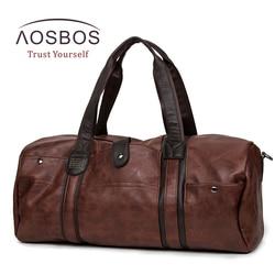 Bolsa de gimnasio de cuero de PU Aosbos bolsas de deporte de gran capacidad para mujeres y hombres bolsa de entrenamiento de Fitness bolso de almacenamiento de lona de viaje al aire libre