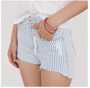 Woman Shorts Summer New Arrival Blue and White High Waist Button Fly Casual Pocket Cotton Straight Striped Shorts B75304J american rag new black high waist button shorts msrp $45 dbfl