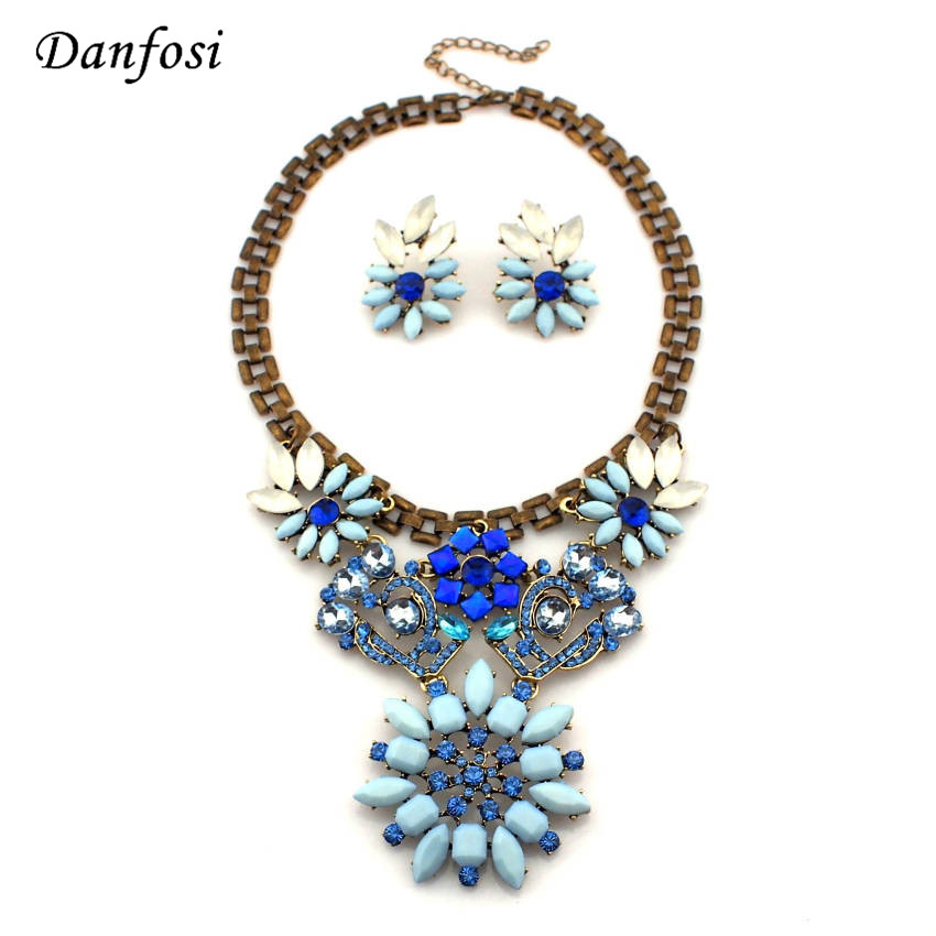Imitation Gem Brand Designer Jewelry Vintage Alloy Chain Blue Flower