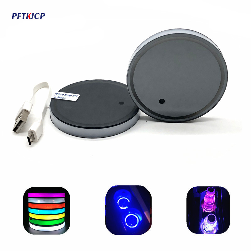 2 pcs Car LED Light Cup Coaster font b Lamp b font for BMW Benz Ford