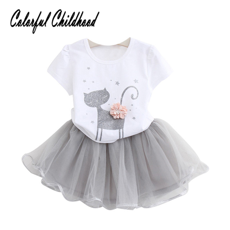 Adorable baby girls clothing set summer cartoon cat design tops+skirt 2pcs set kids suit children clothes 2-7Yrs