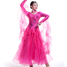 Sequin Sexy Women Modern Dance Dress for Competition Standard Ballroom Dress Girl Female Waltz Tango Spanish Flamenco Dress 89(China)